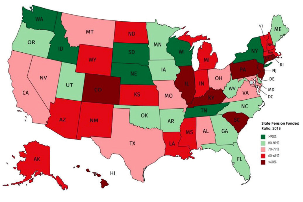 Map of state pension fund ratios